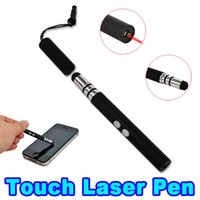 Wholesale Touch Phone Pointer - 3 in 1 Red Laser Touch Screen pen + Capacitive Stylus Pointer Pen with LED Flashlight for Samsung Sony HTC LG HUAWEI ALL phoneS