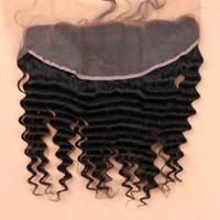 saçlı ön kapak toptan satış-7A Tam Dantel Frontal Kapatma 13x4 Derin Kıvırcık Dalga Bakire brezilyalı İnsan Saç Kulak Kulak Üst Dantel Frontal Adet Toptan Fiyat