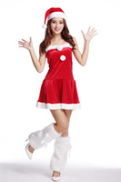 Wholesale Ladies Uniform Skirts Sexy - Sexy vest type santa costume Ladies Camisole dress Stretch tight Mini Skirt Bare shoulders, backs Plush leg sets Red holiday dress cosplay
