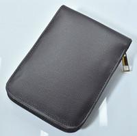 кожаный чехол для авторучки оптовых-высокое качество молнии черный / коричневый искусственная кожа высокой емкости карандаш сумки для шариковая ручка / авторучка / функциональная ручка удобный пенал