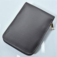 high quality zipper Black   brown PU leather high-capacity pencil bags for ballpoint pen fountain pen functional pen convenient pencil case