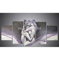 zusammenfassung nackten mann kunst großhandel-Neue 100% Handgemalte Hochwertige Moderne Abstrakte Ölgemälde Auf Leinwand Nude Mann Und Frauen Wandkunst Dekoration