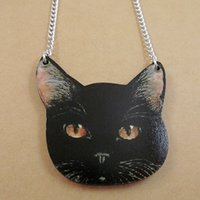 Wholesale Wooden Animals Heads - Lovely Black Cat Head Wooden Pendant Animal Cool Hiphop Fashion Good Wood Necklace Wholesale #AC3