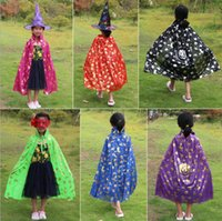 Wholesale lycra spandex costumes online - Halloween Cloak For Kids Cosplay Costume New Design Pumpkin Pattern Halloween Christmas Cosplay Costume High Quality Cloak Shawls