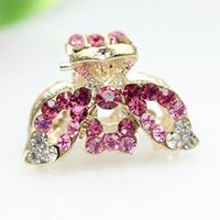 Wholesale hair clip claw clamp rhinestone resale online - Women Lady Leaf Shape Pink Blue Crystal Rhinestone Claw Hair Clip Barrette Hairpin Hairwear Clamp Hair Accessories GF339