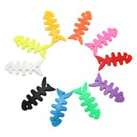 Wholesale Mp3 Fish - 2000Pcs Lot High Quality Fish Bone Earphone Cable Holder Winder Organizer For MP4 MP3 IPhone Free Shipping