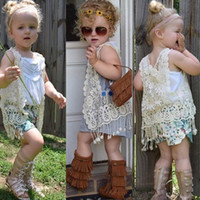 Wholesale lace ponchos - 2016 INS HOT baby girl kids floral crochet vest crocheted hollow lace knitted shawl robe coat cardigan Poncho tops Cute tassels fringed