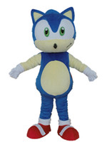 Wholesale Sonic Costumes For Adults - 0524 free shipping adult blue sonic mascot costume with mini fan inside the head for sale