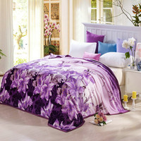 Wholesale Vintage Twin Bedding - Vintage Purple Lily Soft air thickening Blanket Gift Throws on Bed Sofa Plane Travel Fleece Blankets Wedding Home Textile Gift