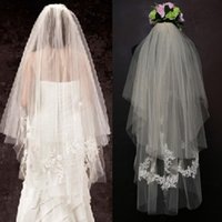 Wholesale wedding head veils for sale - Group buy Gorgeous Boho Bridal Veil Two Layers Wedding Party Brides Veils with Lace Appliques Hottest Gorgeous Soft Tulle Head Accessories