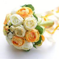 chá verde laranja venda por atacado-O envio gratuito de alta qualidade orange tecido de flores de casamento chá rosa handflower verde do casamento da dama de honra bouquet 20 ou 30 peças de flores