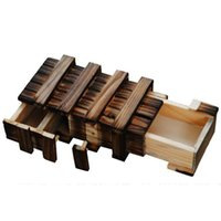 Wholesale Wooden Brain Puzzles - Wooden Puzzle Box With Secret Wood Drawer Magic Compartment Brain Teaser Educational Toys for Children Gift Wooden Toys Puzzle