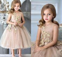 için çay prenses elbiseleri toptan satış-2020 Prenses Champagne Balo Kızlar Yarışması Elbise Mücevher Boyun Dantel Aplikler Tül Çay LengthKids Çiçek Kız Elbise Doğum Önlükler
