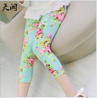 Wholesale corduroy children casual pants for sale - 2018 Summer Girls Floral Printed Legging Pants Children Flower Tights Kids Cotton Casual Pants Child Trousers cm