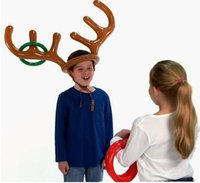 Wholesale Fun Christmas Hats - free shipping 200pcs Inflatable Kid Children Toys Fun Christmas Toy Toss Game Reindeer Antler Hat With Rings Hats Party Supplies