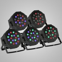 Wholesale Dmx Led Strobe - 5Pcs 18x1W Par LED Stage Light Bar Sound Active Led Stage Light Flat Par DMX-512 Laser Lighting Projector Party DJ Light led light bar