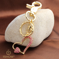 Wholesale Heart Keychain Ring - Pink Crystal keychains Heart & Heart Zinc alloy keychain Ring Keyring Love Romantic Creative fashion jewerly packbag decoration