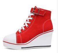 Wholesale Hid 35 - Black White Women Shoes Platform 2016 Hidden Wedge Boots Shoes For Women High Heel Top Canvas Shoes Ladies 35-43