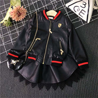 Wholesale Cool Style Child - Fashion Cool Girls PU leather Outfits Black Jacket Coat leace PU leather skirt Dress Suits Kids Outfits Children Set Clothes Lovekiss C29412