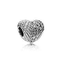 925 encantos de la pluma de plata esterlina al por mayor-Auténtico 100% 925 Sterling Silver Bead Charm Feathers Alas Amor Heart Beads Fit Pandora Pulseras Bangles Collar