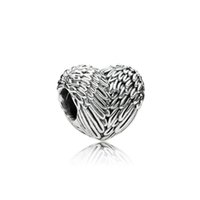 Wholesale Love Heart Necklace Wings - Authentic 100% 925 Sterling Silver Bead Charm Feathers Wings Love Heart Beads Fit Pandora Bracelets & Bangles Necklace