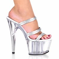 Wholesale Professional Dance Shoes - Professional pole dancing fashion sexy shoes 15 cm high-heeled shoes sandals white crystal