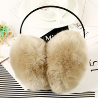 Atacado - 2017 Mulheres Faux Rabbit Fur Earmuffs Meninas Cute Plush Foffy Ear Warm Muffs Lady Earlap Earmuffs Winter Thermal Ear Cover