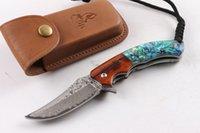 damastabalone faltmesser großhandel-Kampierendes Jagdmesser des Wildhirschmessers (Abalone) des Damaskus im Freien kampierendes faltendes Messer 1pcs freies Verschiffen
