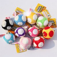 "Wholesale super mario key chain - Super Mario Bros Mushroom With Key Chain Plush Doll 2.5"" Toy Doll 10 Colors Free shipping"