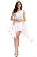Wholesale Halloween Greek Goddess - New Greek Goddess White Irregular Long Dresses Sexy Cosplay Halloween Costumes One-Shoulder Uniform Temptation Stage Performance Clothing