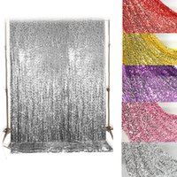 Wholesale Sequin Mesh Embroidery Fabric - shiny sequined fabric wedding background cloth 6mm sequins material mesh embroidery dancing stage decor paillette fabric