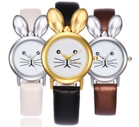 Wholesale Cute Party Dress Woman - 2017 new thin lovely cute rabit design women ladies leather watches wholesale lady girls dress quartz party wrist watches