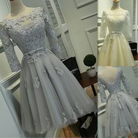 Wholesale Open Back Lace Prom Dresses - Short Prom Dresses 2016 Lace Scoop 3 4 Sleeves Open Back Lace Up Homecoming Gowns Tulle Appliques Knee Length Girls Party Dress