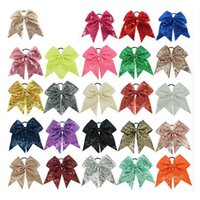 "Wholesale Sequin Bows For Hair Accessories - 8"" Fashion Handmade Sequin Bling Cheer Bows for Girl Children Kids Boutique Sequin Hair Accessories with Elastic"