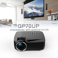 Wholesale Smart Led Tvs Wholesale - New GP70UP Mini Smart LED Projector Android 4.4 Bluetooth Wifi Google Play 1080P HD Portable Projectors 10000:1 1G 8G TV Beamer Updated GP70