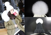 "Wholesale Large Crochet Hat - New 5.5 "" Large ball Winter Children Fox Fur Hats elastic Knitted Wool Hemming Hat Caps For 3-8years girls bonnet enfant women hats 5pcs"