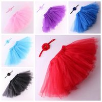 Wholesale Summer Toddler Girls Pettiskirts - little girls party tutu skirts baby toddler flower headband + tulle tutus skirt and tops sets infant photography props pettiskirts wholesale