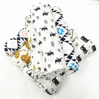 Wholesale Muslin Aden Anais - 17 Design INS fox bear wolf panda muslin blanket aden anais children swaddle wrap blankets towelling baby infant blanket DHL Free