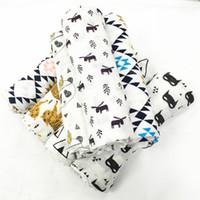 Wholesale Wolf Designs - 17 Design INS fox bear wolf panda muslin blanket aden anais children swaddle wrap blankets towelling baby infant blanket DHL Free
