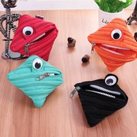 Wholesale Designers Headphones - new Eyed monster Zipper coin purse Cute mini headphone package admission package Simple designer naughty Mini Wallet