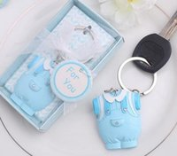 Wholesale baby blue keychain resale online - DHL Free Shiping Baby Shower Favors and Gift Cute Baby Clothes Key Chain Blue pink Themed Keychain for boy