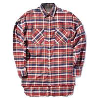Wholesale Men S Plaid Flannel Shirt - FEAR OF GOD shirts men justin bieber flannel Scotland plaid long sleeve shirts brand Hiphop extended oversized Men Cotton shirt