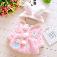Wholesale Clothes Coats For Rabbits - 2015 Winter clothes baby girls winter velvet coat jacket cartoon coat with cherry rabbit ears 2 color for age 1-4T