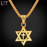 paslanmaz çelik çapraz altın kaplama toptan satış-Benzersiz Sıcak Magen David Yıldızı Kolye Çapraz Kolye Kadın Zincir 18 K Altın kaplama Erkekler Paslanmaz Çelik İsrail Yahudi Kolye P819