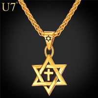 Wholesale gold jewish star necklace for sale - Group buy unique Hot Magen Star of David Pendant Cross Necklace Women Chain K Gold plated Men Stainless Steel Israel Jewish Necklace P819