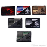 Wholesale Military Badge Embroidery - 50 PCS American Flag + U.S.AMRY Tactical Patch Morale Patches Hook&Loop 3D 100% Embroidery Badge Military Army Badges Wholesale free ship