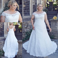 Wholesale fat bow - Country Full Lace Plus Size Wedding Dresses Cheap Custom Made Backless Short Sleeves Big Size Wedding Gown Bridal Dress Fat Women