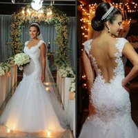 Wholesale Da Sposa - 2017 Abito Da Sposa Cap Sleeve Wedding Gowns Mermaid Tulle Appliques Lace Backless Bridal Dresses Sweetheart Custom Made
