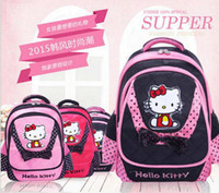 Wholesale Children Cloth Books - Free DHL Lovely Hello Kitty Design Girls Children Student Book Backpack Schoolbag School backpack Oxford Cloth Waterproof