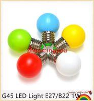 Wholesale Blue Night Light Bulbs - YON G45 LED Light E27 B22 1W Energy Saving Mini Bulb Lamp 110-220V Night Light Decoration White Red Blue Green Yellow Pink 100pcs lot